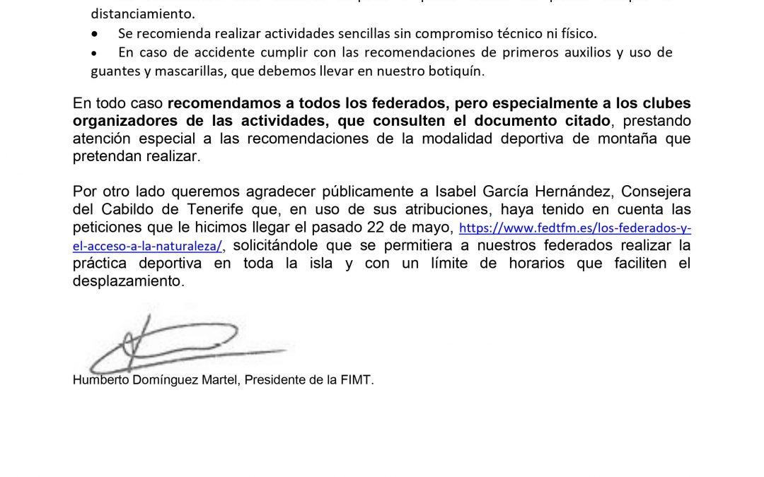 Comunicado FIMT a Federados Clubes 26/05/2020