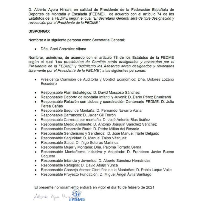 Nuevos nombramiento de Alberto Ayora como Presidente de FEDME