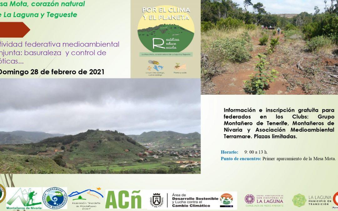 Actividad Federativa y Medioambiental conjunta del Grupo Montañero de Tenerife, Asociación Terramare y Montañeros de Nivaria