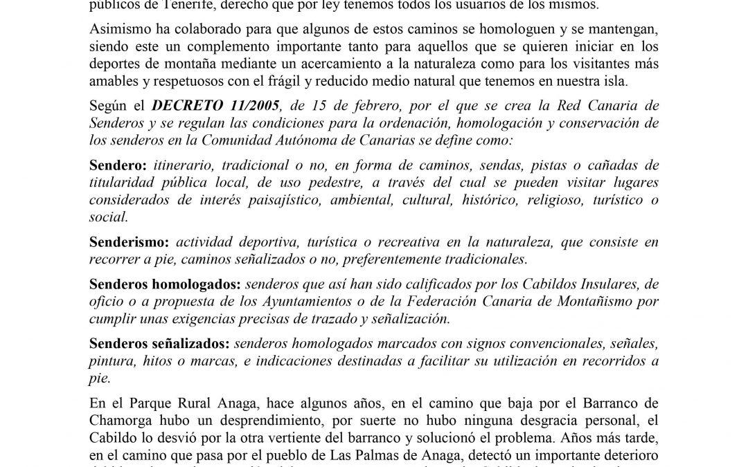 Comunicado de la FIMT sobre el Cierre de Sendero en Anaga
