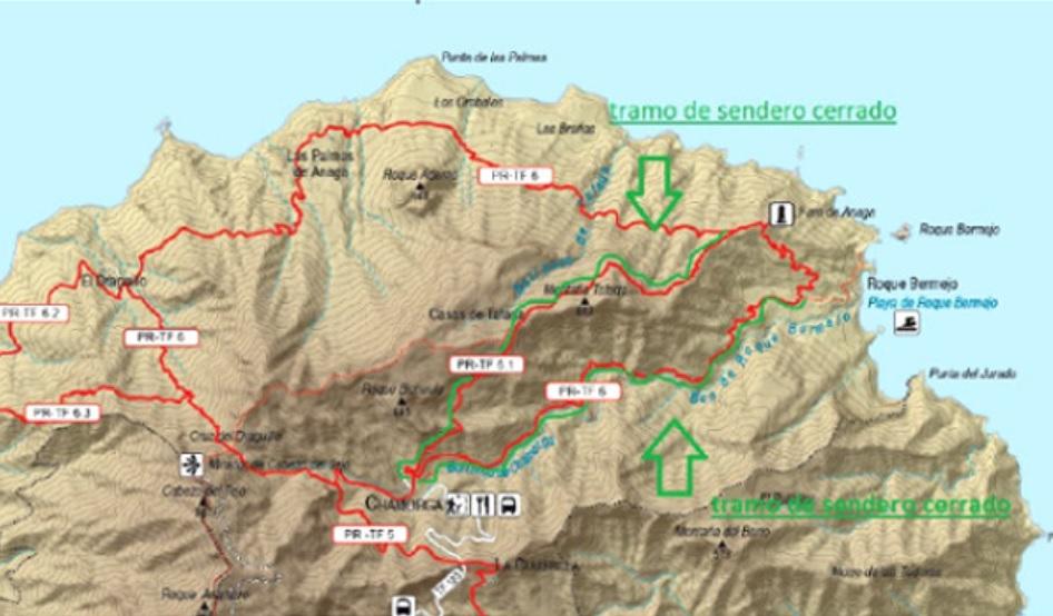 Aviso del cierre temporal en abril de dos tramos de senderos en Chamorga