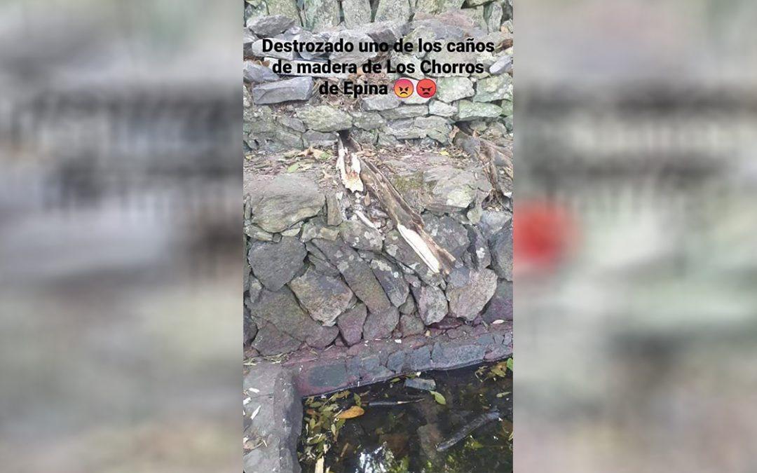 El incivismo no tiene freno en Canarias: destrozan los chorros de Epina en La Gomera